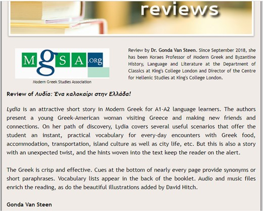 Lydia Greek easy reader testimonial